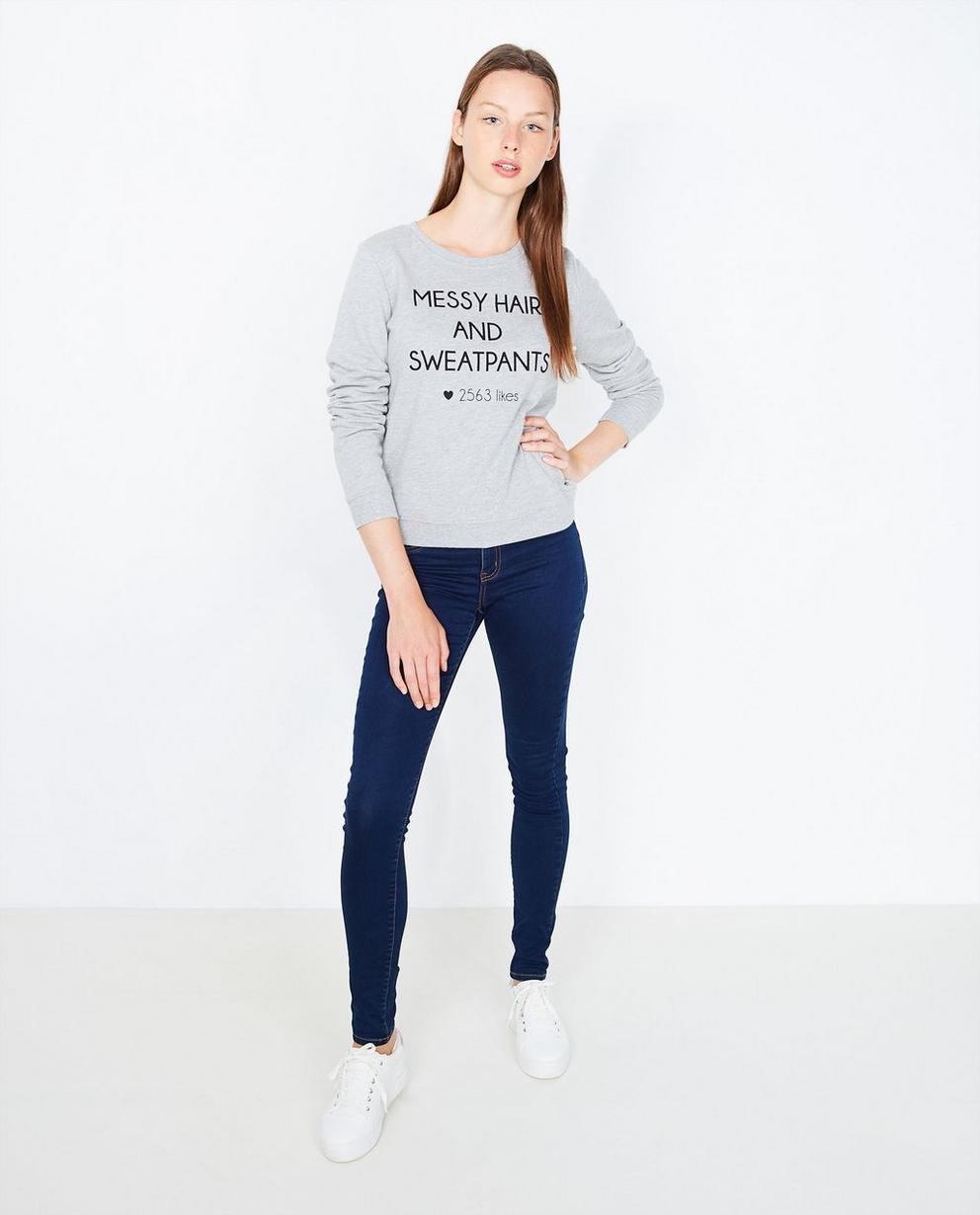 Statement sweater  - in lichtgrijs - Groggy